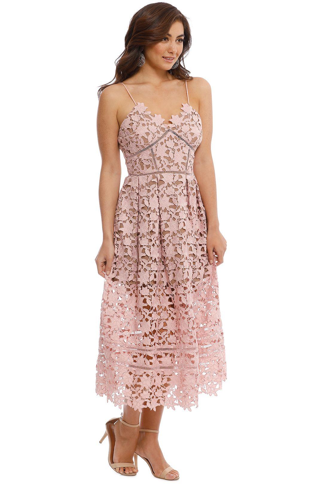 Self Portrait - Azaelea Lace Midi Dress - Pale Pink - Side