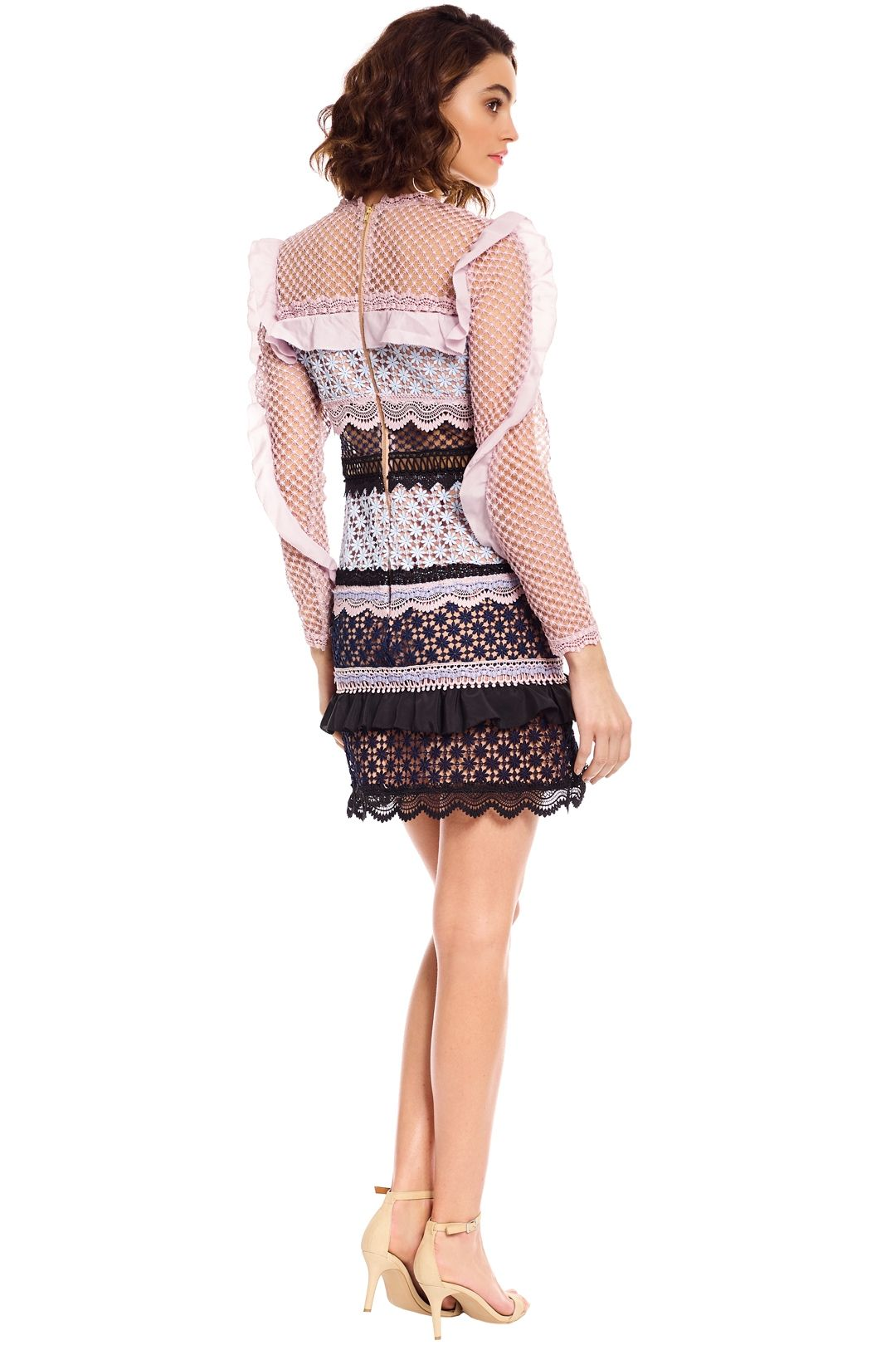 Self Portrait - Bellis Lace Trim Dress with Frilled Sleeves - Pink - Back