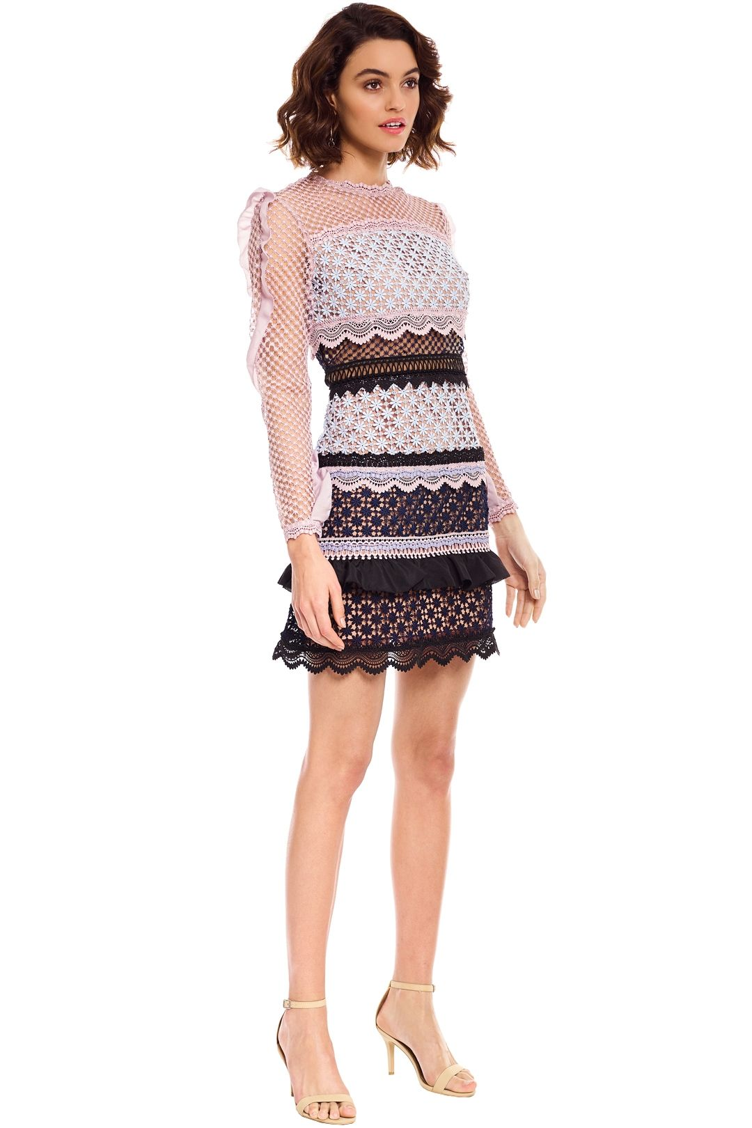 Self Portrait - Bellis Lace Trim Dress with Frilled Sleeves - Pink - Side