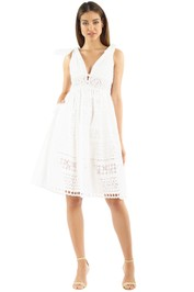 Self Portrait - Broderie Anglaise Dress - White - Front