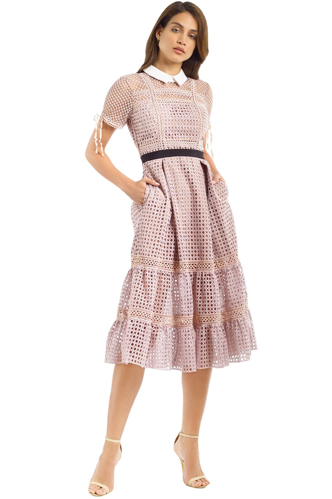 Self Portrait - Cross Hatch Tiered Midi Dress - Pastel Pink - Front