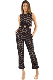 Self Portrait - Cutwork Embroidered Jumpsuit - Black - Front