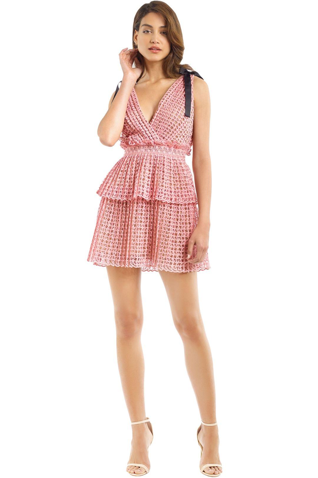 Self Portrait - Cutwork Mini Dress - Pink - Front