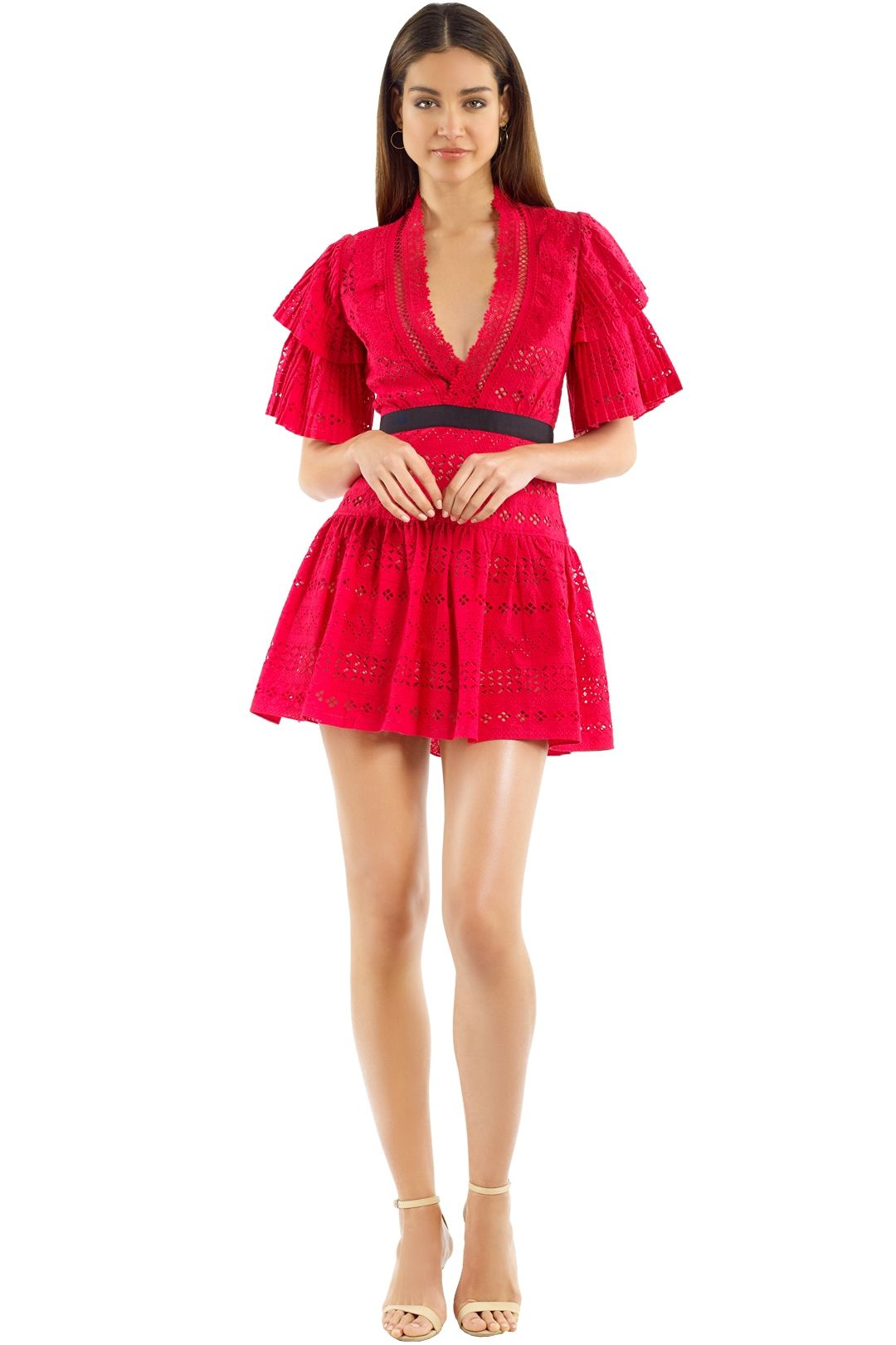 Self Portrait - Deep V-Neck Broderie Anglaise Cotton Dress - Red - Front