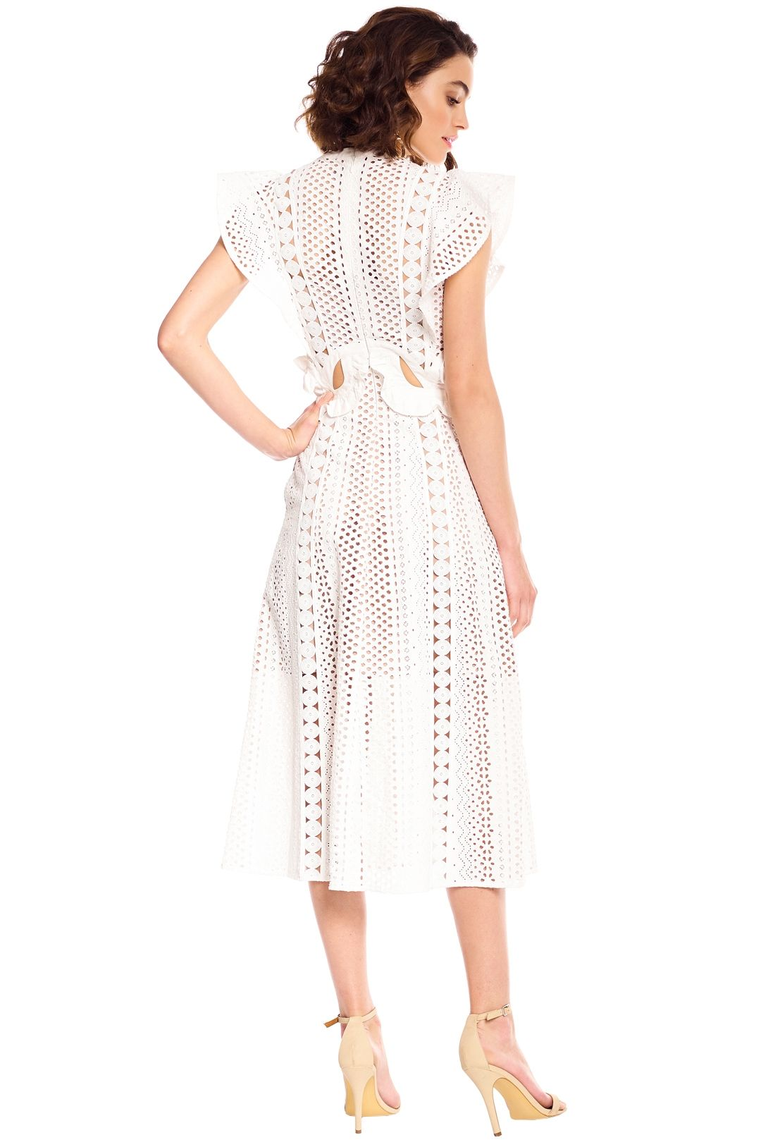 Self Portrait - Embroidered Cut-Out Midi Dress - White - Back