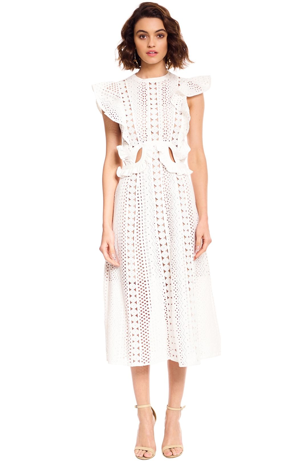 Self Portrait - Embroidered Cut-Out Midi Dress - White - Front