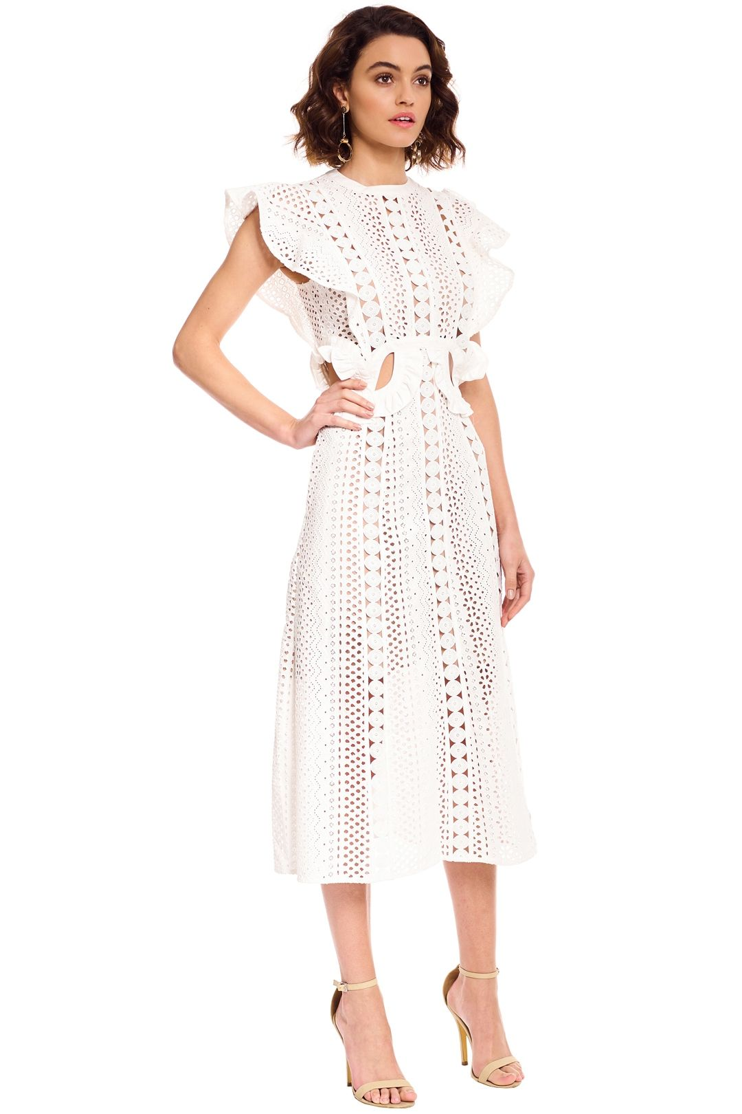 Self Portrait - Embroidered Cut-Out Midi Dress - White - Side