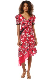 Self Portrait - Floral Print Dress - Red - Front