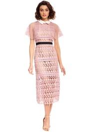 Self Portrait - Floral Vine Cape Midi Dress - Pink - Front