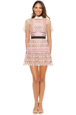 Self Portrait - Floral Vine Cape Mini Dress - Pink - Front