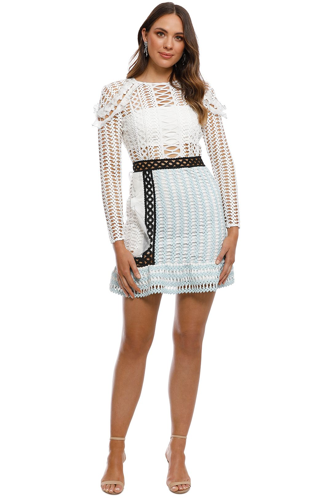 Self Portrait - Frill Shoulder Panel Dress - White Blue - Front