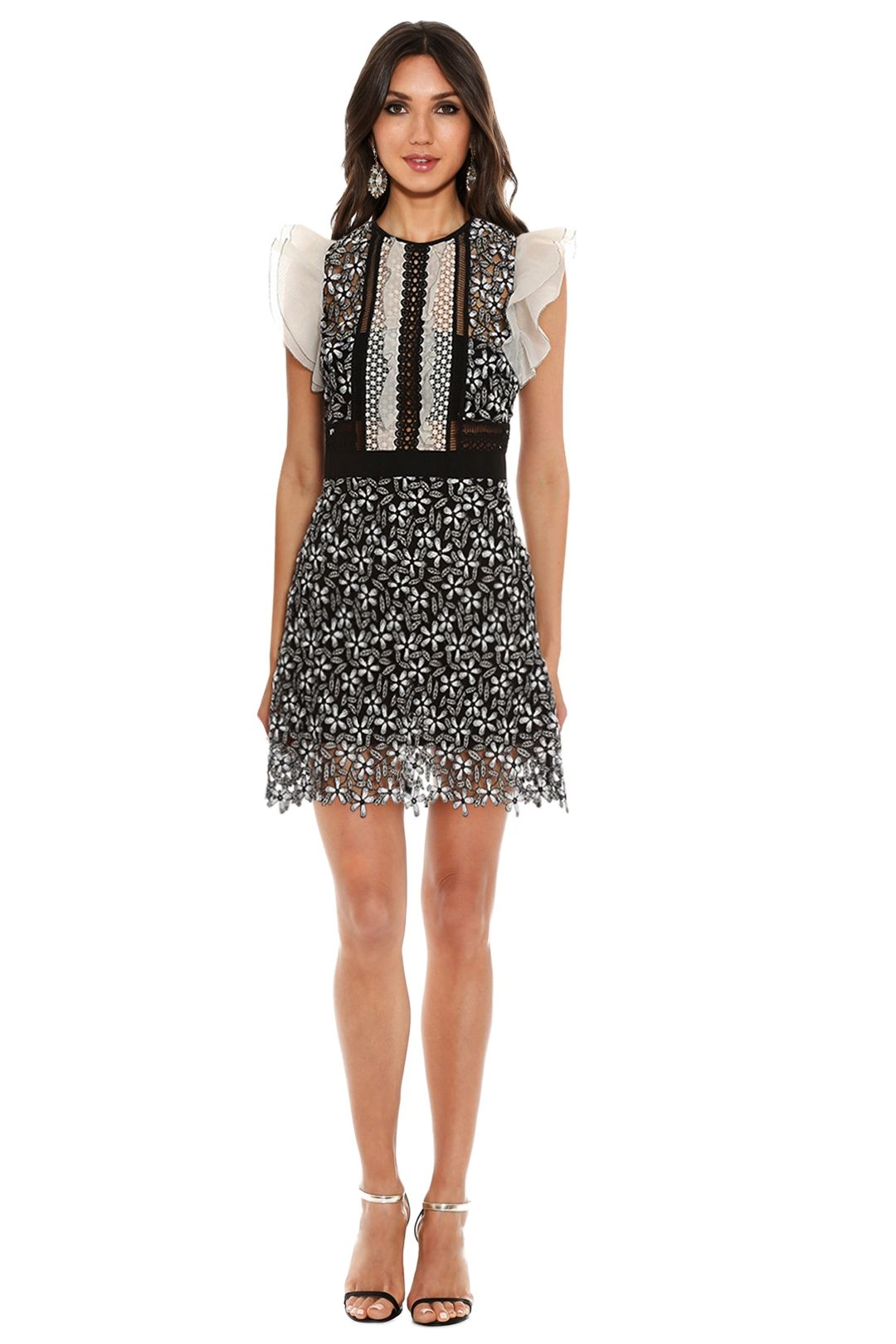 Self Portrait - Frill Sleeved Daisy Guipure Mini Dress - Black and White - Front