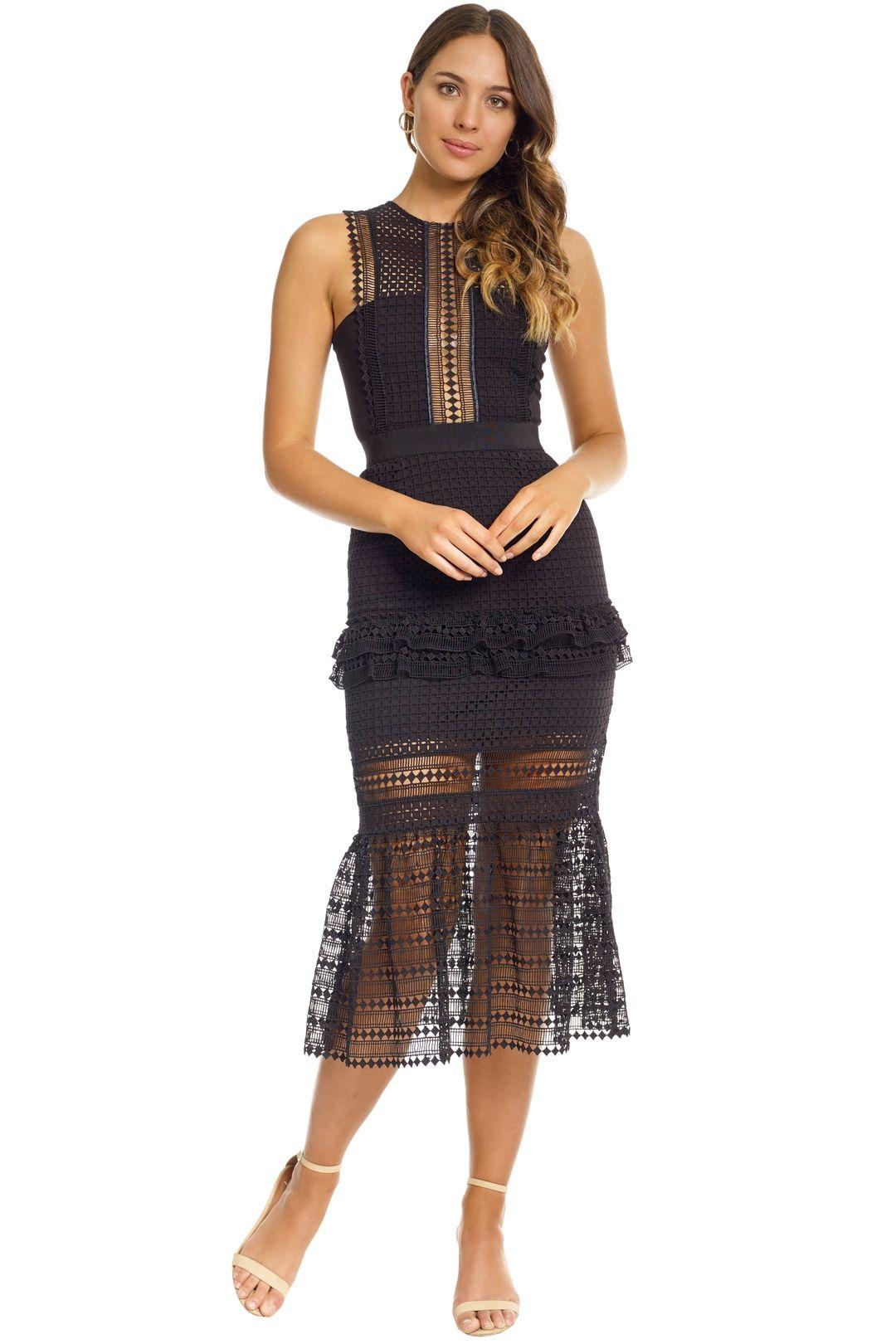Self Portrait - Frilled Column Dress - Black - Front