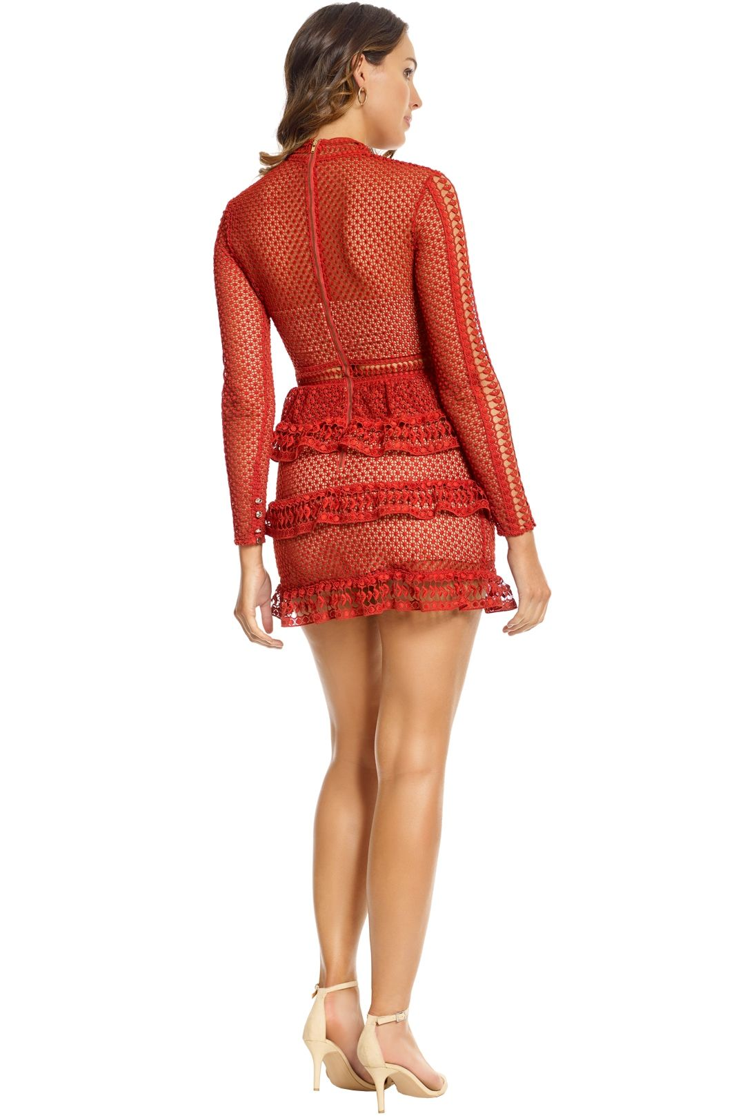 Self Portrait - Tiered Guipure Lace Mini Dress - Crimson Red - Back