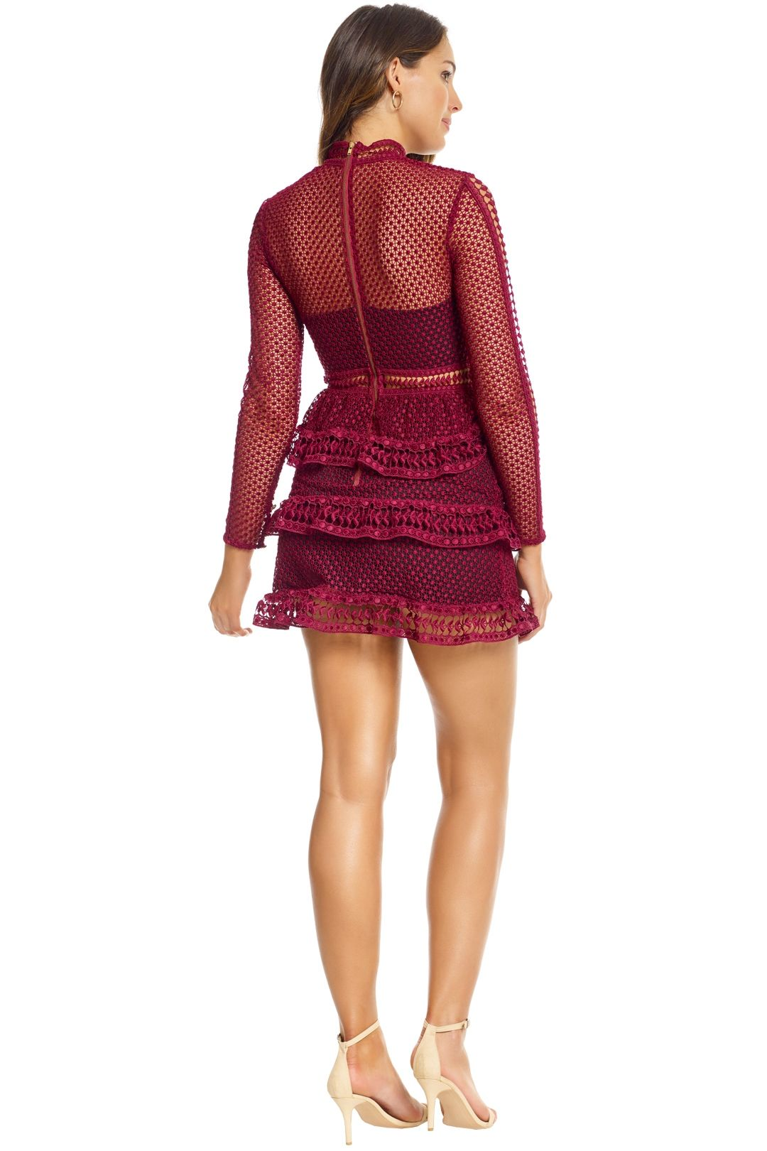 Self Portrait - Tiered Guipure Lace Mini Dress - Maroon - Back