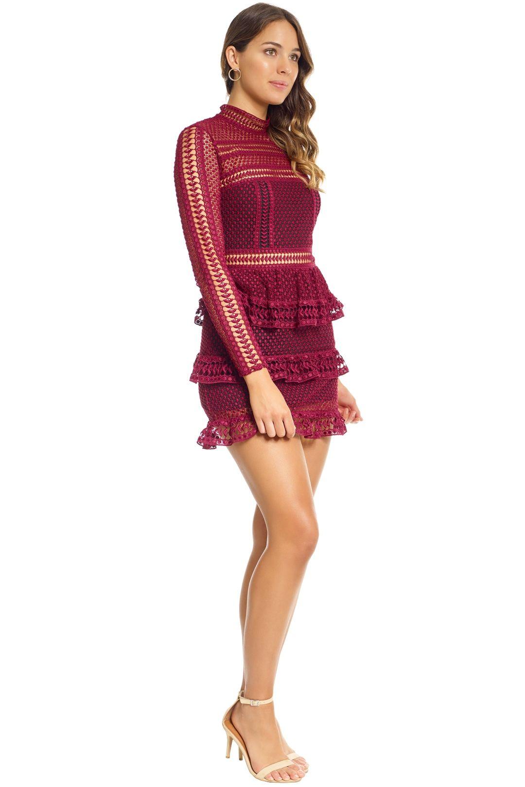 Self Portrait - Tiered Guipure Lace Mini Dress - Maroon - Side