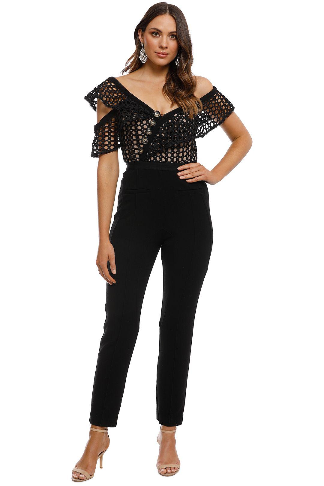 Self Portrait - Lace Frill Jumpsuit - Black - Front