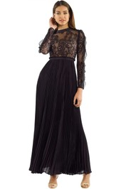 Self Portrait - Moni Lace Pleated Dress - Black - Front