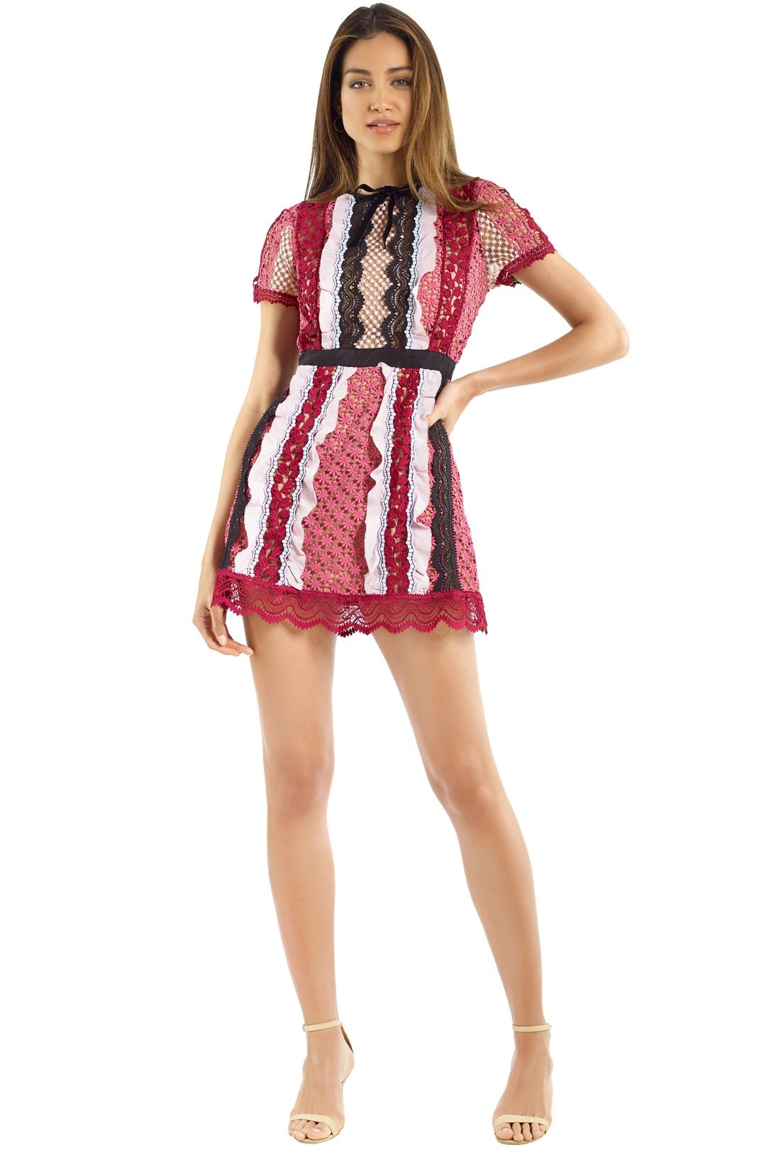 Self Portrait - Panelled Bellis Lace Trim Mini Dress - Pink Multi - Front