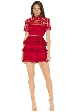 Self Portrait - Red High Neck Star Lace Panelled Dress - Red - Front