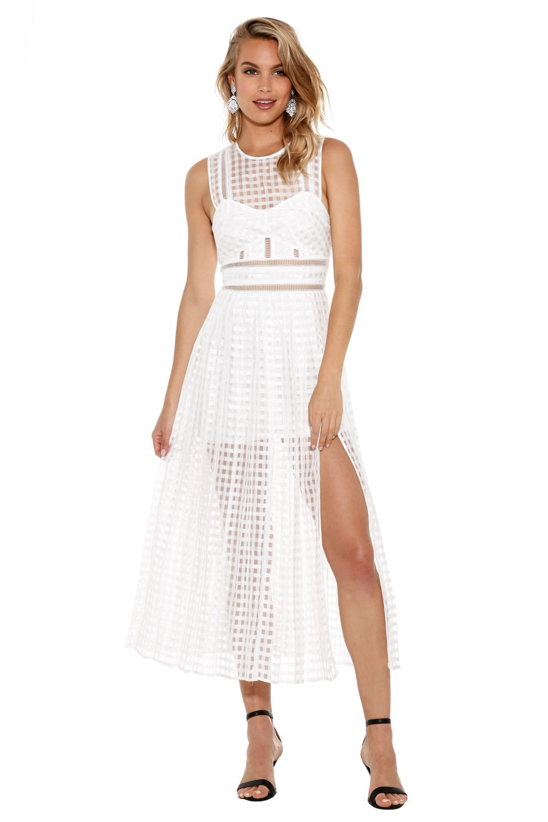 Self Portrait - Sheer Check Midi Dress - White - Front