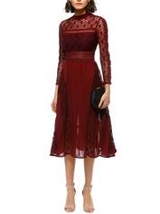 Self Portrait - Symm Midi Dress - Red - Front