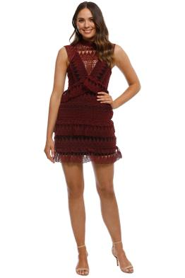 Self Portrait - Teardrop Guipure Panelled Mini Dress - Burgundy - Front