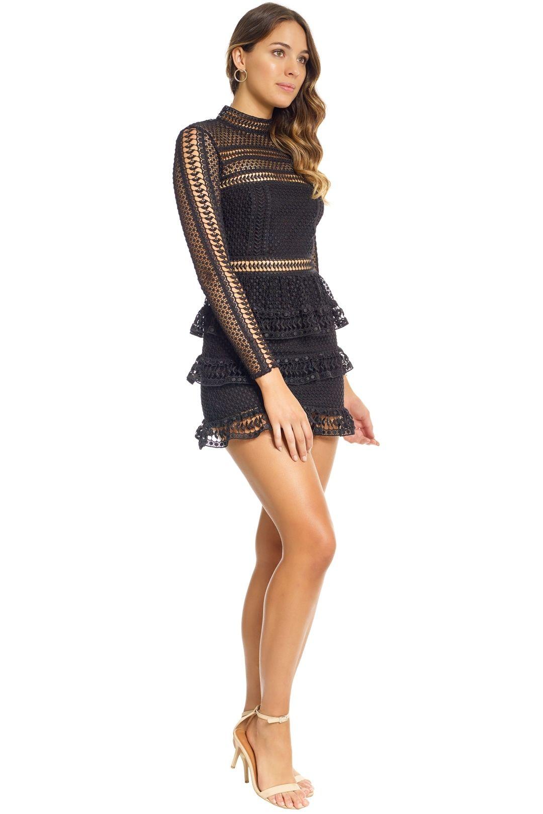 Self Portrait - Tiered Guipure Lace Mini Dress - Black - Side