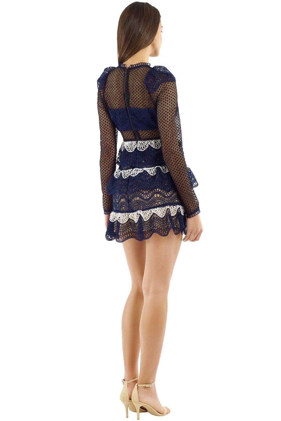 Self Portrait - Wave Guipure Mini Dress - Navy - Back