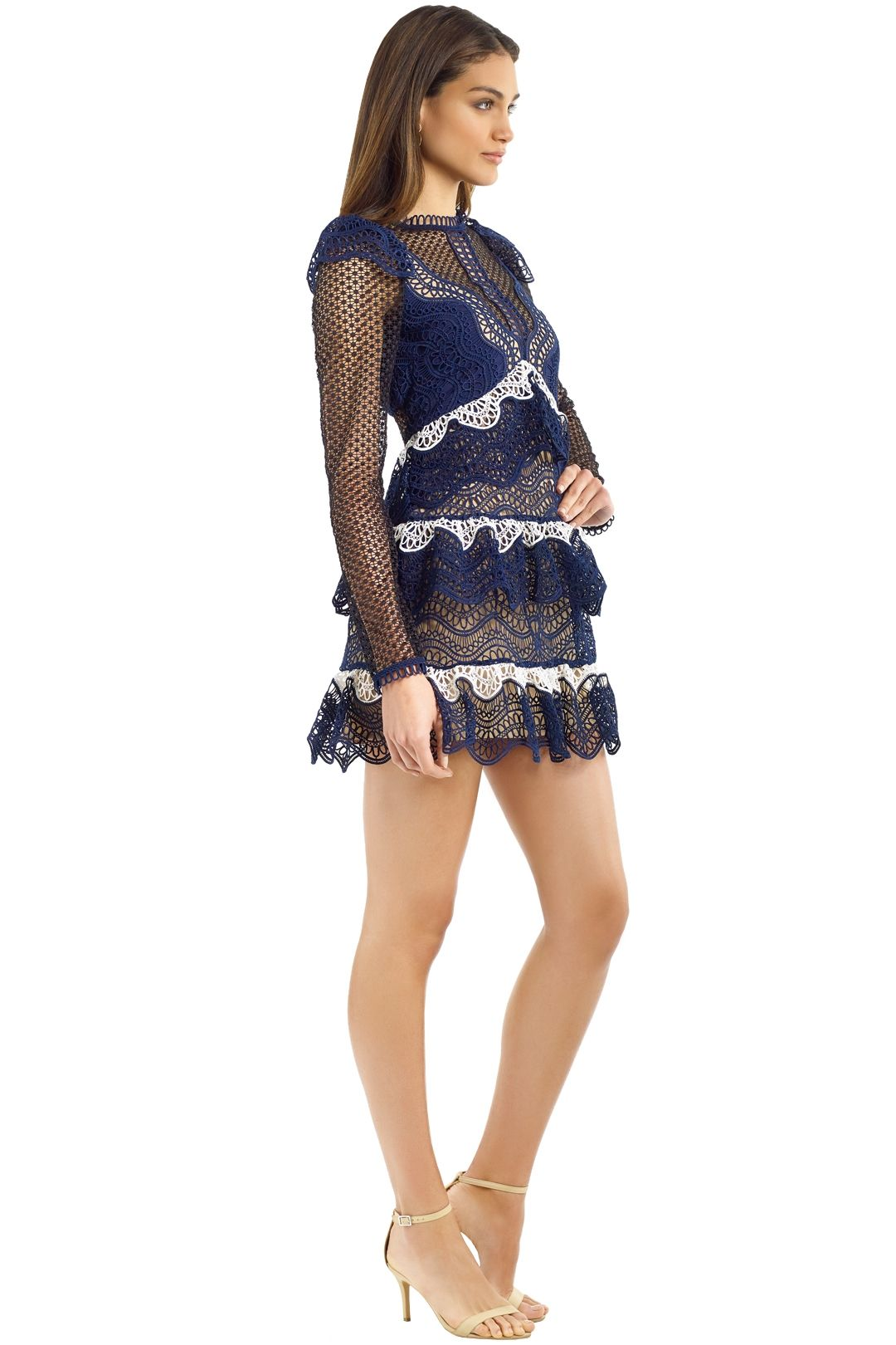 Self Portrait - Wave Guipure Mini Dress - Navy - Side