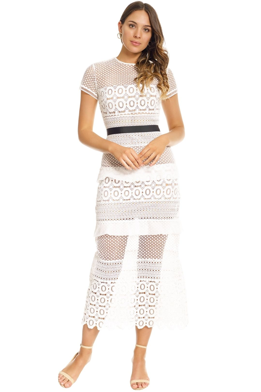 Self Portrait - White Oblique Lace Column Dress - White - Front