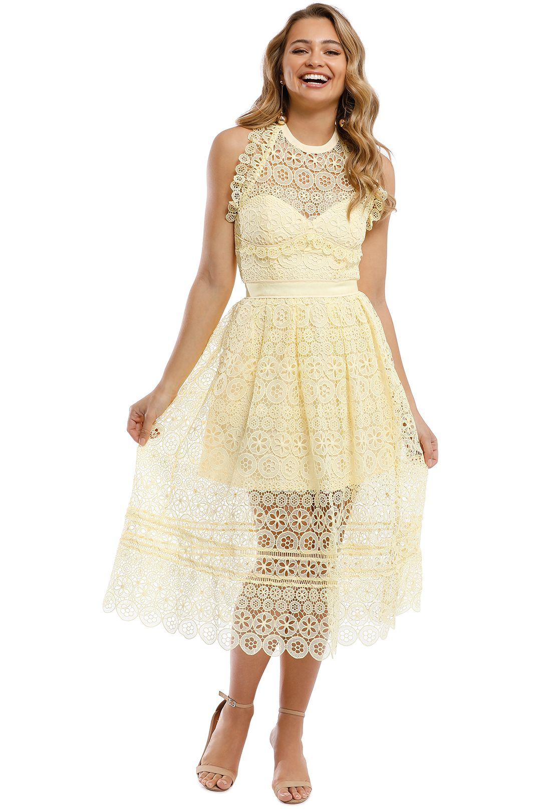 Self Portrait - Yellow Circle Floral Lace MIdi Dress - Yellow - Front