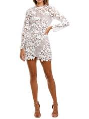 Self Portrait 3D Floral Mini Dress White Lace