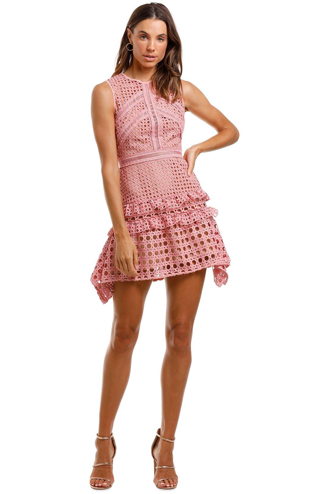 Self Portrait Crosshatch Frill Mini Dress Pink Sleeveless