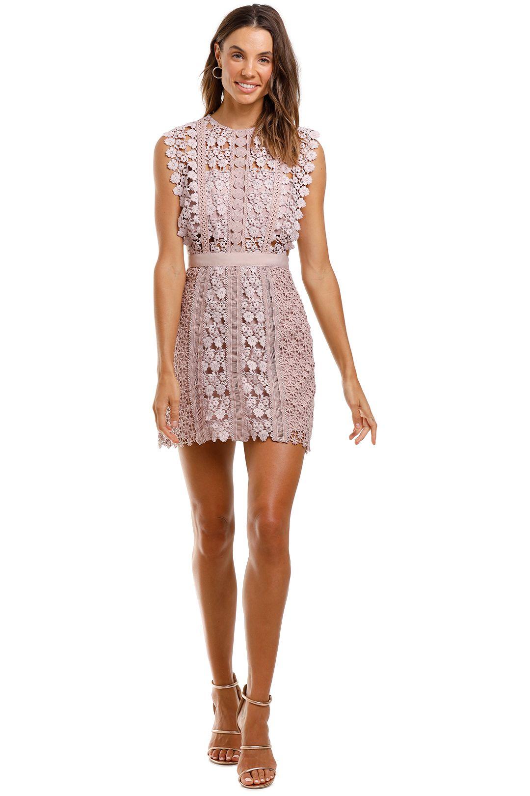 Self Portrait Daisy Vine Mini Dress Pink