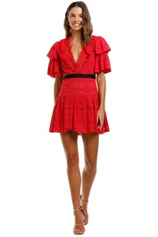 Self Portrait Deep V-Neck Broderie Anglaise Cotton Dress Red Short Sleeves