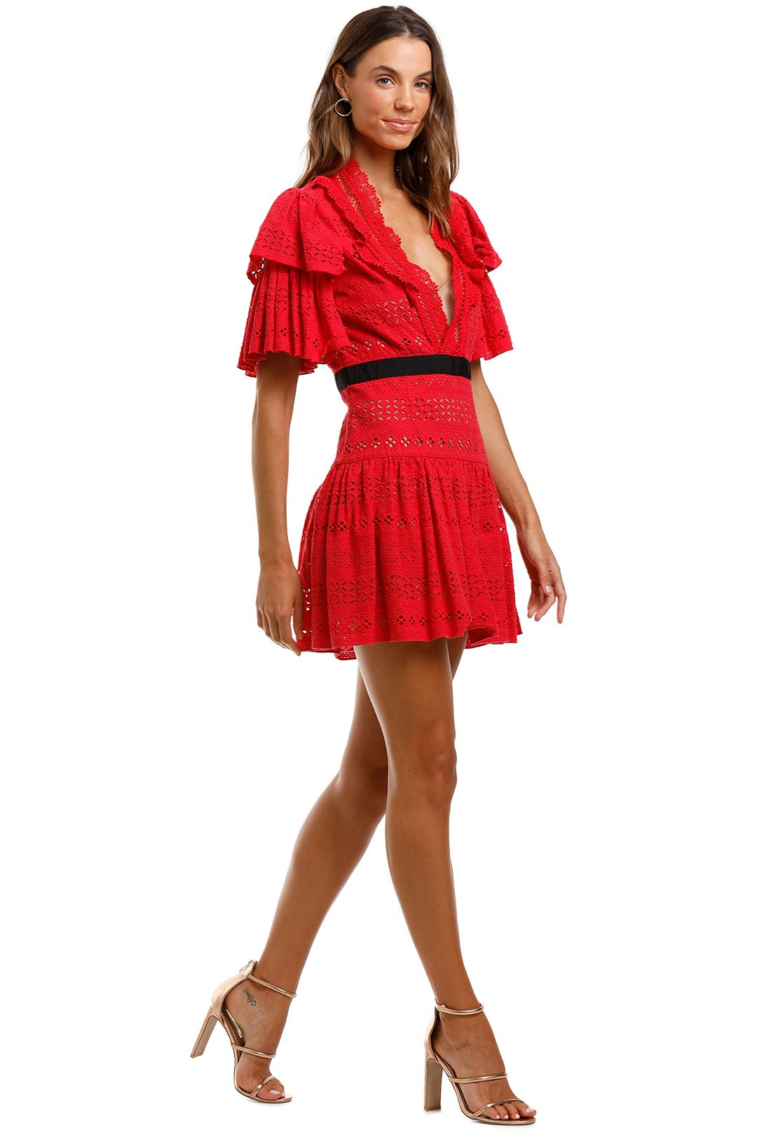 Self Portrait Deep V-Neck Broderie Anglaise Cotton Dress Red Mini