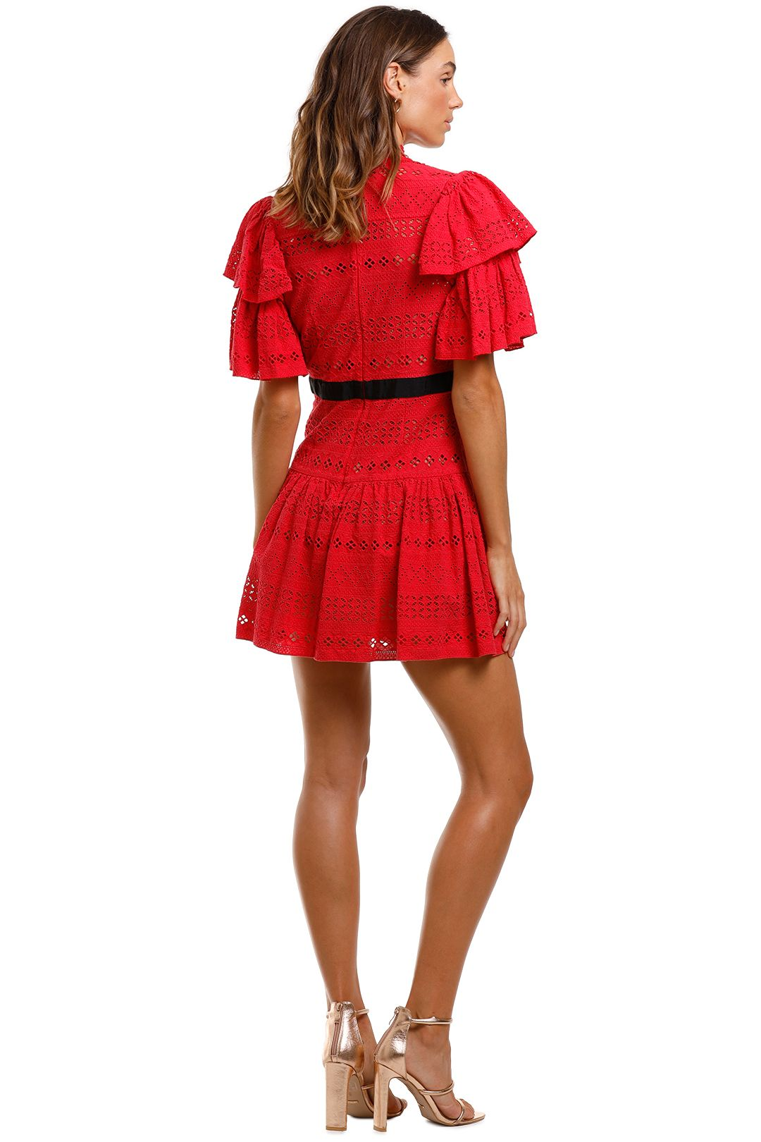 Self Portrait Deep V-Neck Broderie Anglaise Cotton Dress Red