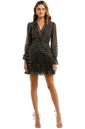 Self Portrait Dot Fil Coupe Mini Dress Black