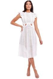 Self Portrait Embroidered Cut-Out Midi Dress White