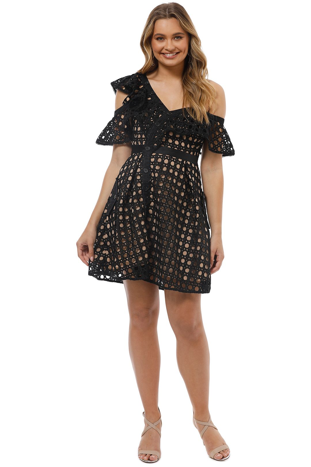 Self Portrait - Guipure Frill Mini Dress - Black - Front