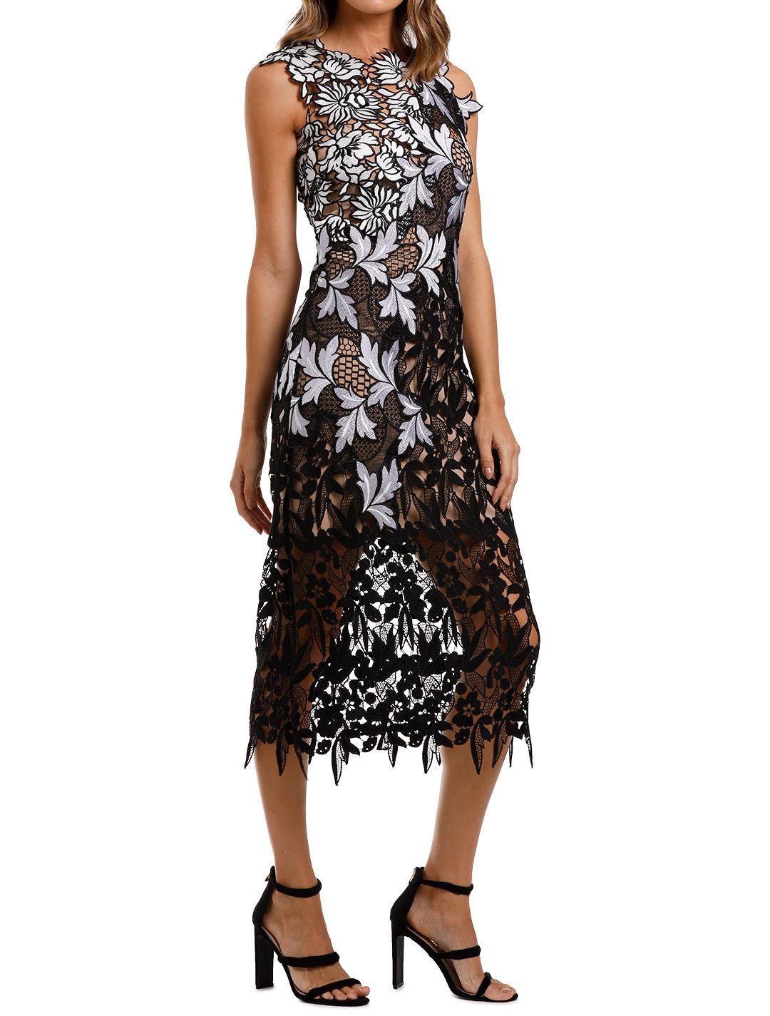 Self Portrait Guipure Patchwork Midi Dress Lace