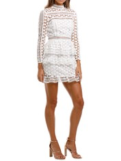 Self Portrait High Neck Star Lace Panelled Dress White Long Sleeve