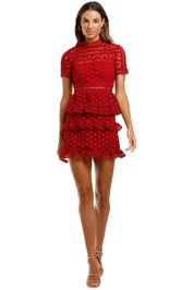 Self Portrait Red High Neck Star Lace Panelled Dress Short Sleeve