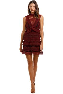 Self Portrait Teardrop Guipure Panelled Mini Burgundy Lace