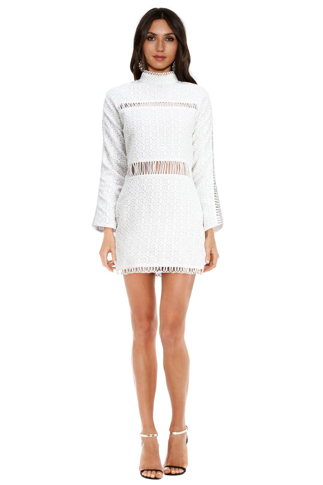 Shakuhachi - Cut Out Lace Panelled Mini Dress - White - Front