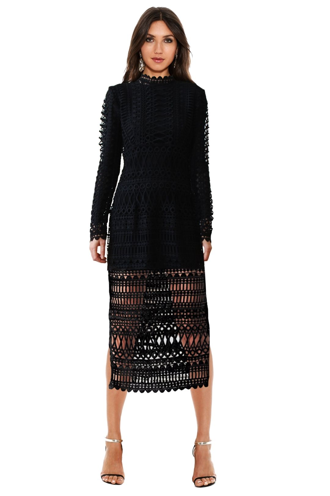 Shakuhachi - Lace Borders Midi Dress - Black - Front