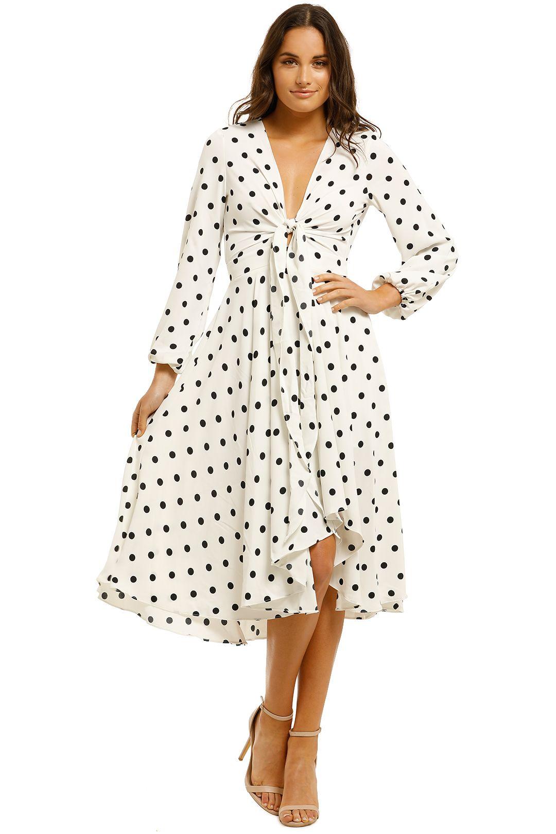 Sheike-Flutter-Dress-Ivory-Spot-Front