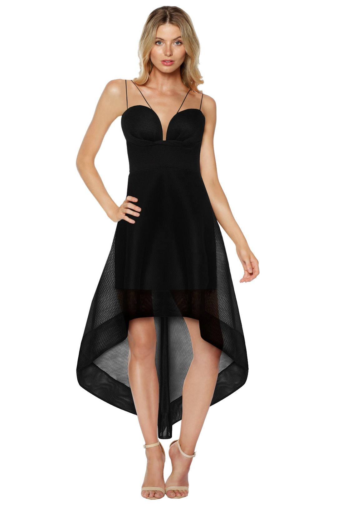 Sheike - Frankie Hi Low Dress - Black - Front