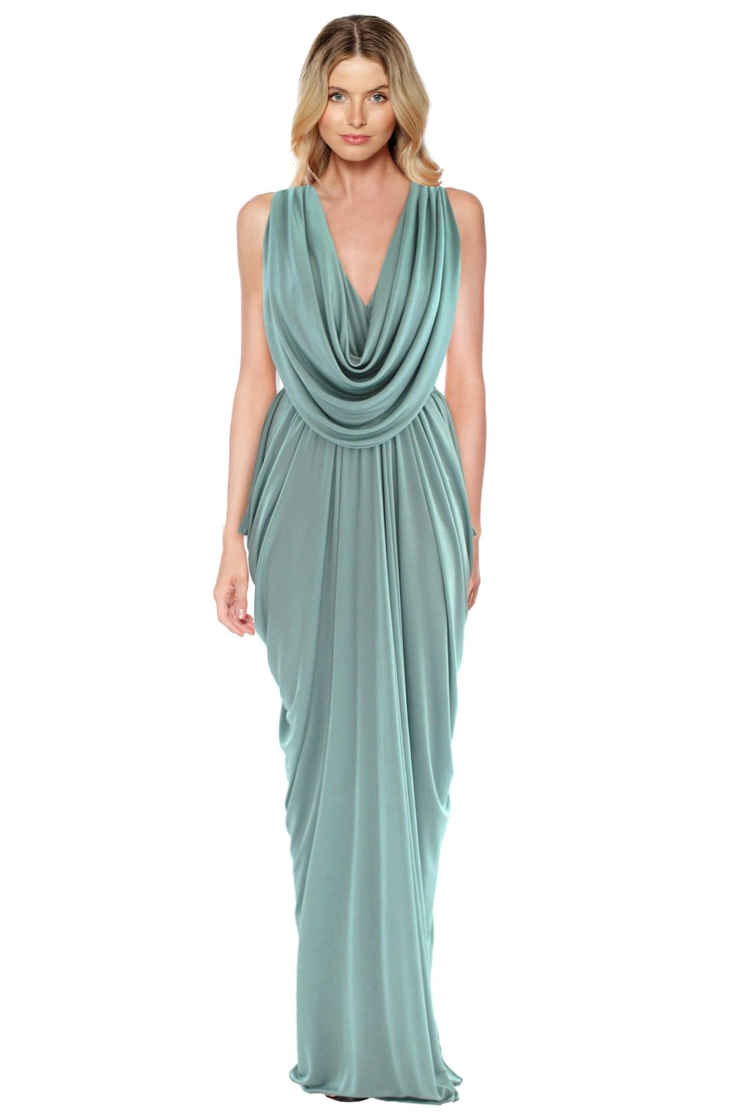 Sheike - Grecian Maxi Dress - Mint - Front